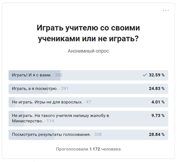 Результат опроса: школьники согласны играть сучителем вкомпьютерные игры