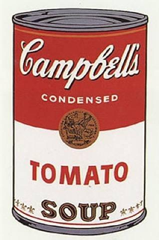 Банка с супом Кэмпбелл (рисово-томатный) (Энди Уорхол, 1968) — иллюстрация к статье история искусства, раздел — Поп-арт.