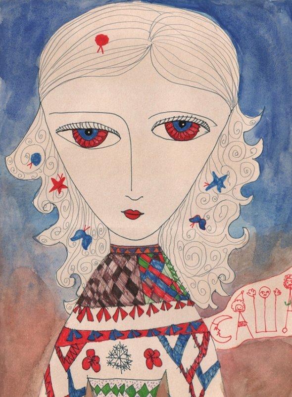 Саша Путря. Автопортрет скрасными глазками (6 лет)