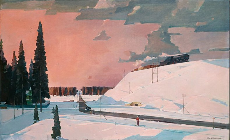 Картина подмосковная зима