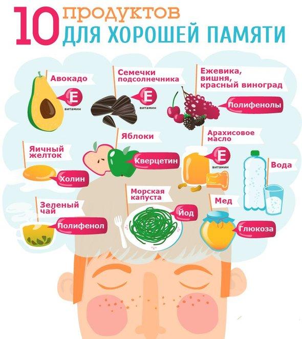 продукты для мозга - инфографика