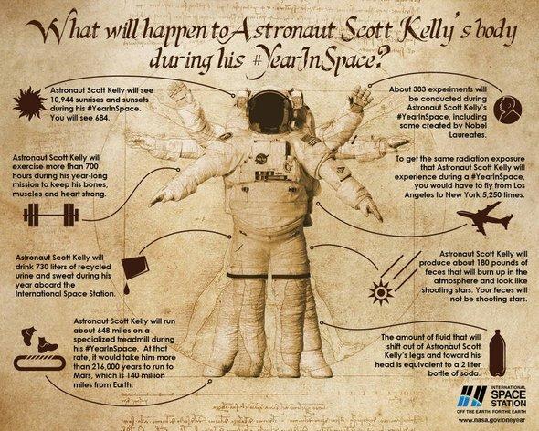 космонавт скотт келли инфографика