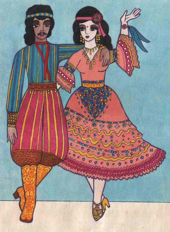 Саша Путря. «Молодые индийцы, танцевальная пара» (9 лет)