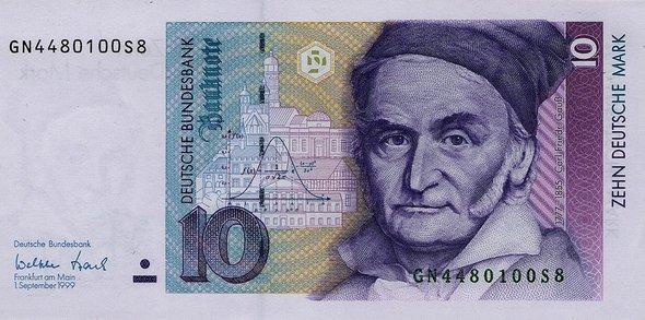 Банкнота в10марок спортретом Карла Гаусса. Фото: Немецкий федеральный банк, Франкфурт-на-Майне, Германия.