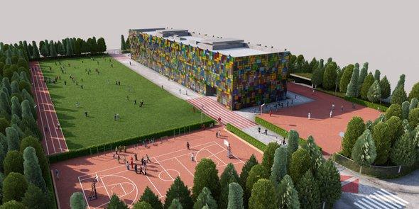 Школа и прилегающая территория формируют цельный  комплекс