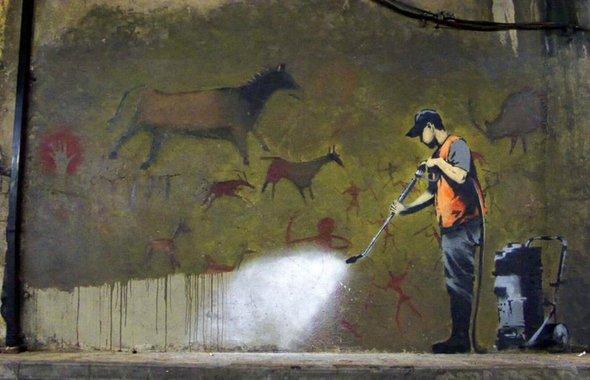 Мойка стены (Бэнкси, 2008)— иллюстрация к статье история искусства, раздел — современное искусство.