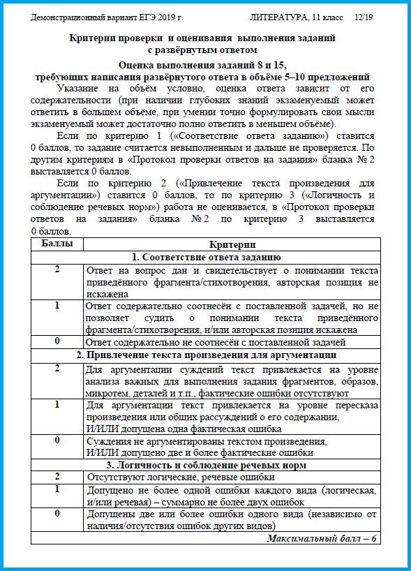 ЕГЭ по литературе 2019. Критерии оценивания, изменения рекомендации