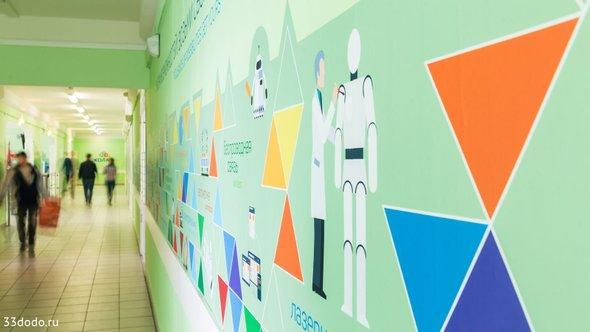 оформление стены школы №2051