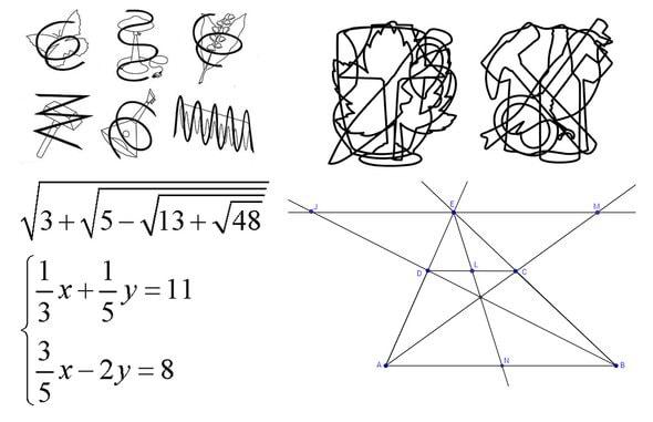 Перечеркнутые и наложенные изображения (сверху), реальные задания по алгебре и геометрии (внизу).