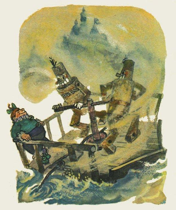 Иллюстрации Леонида Владимирского кповести Александра Волкова «Жёлтый туман»