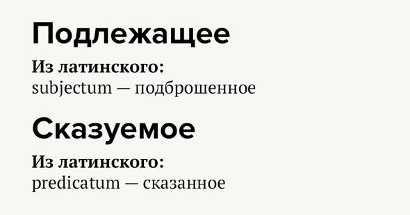 Подлежащее Излатинского: subjectum—подброшенное Сказуемое Излатинского: predicatum— сказанное