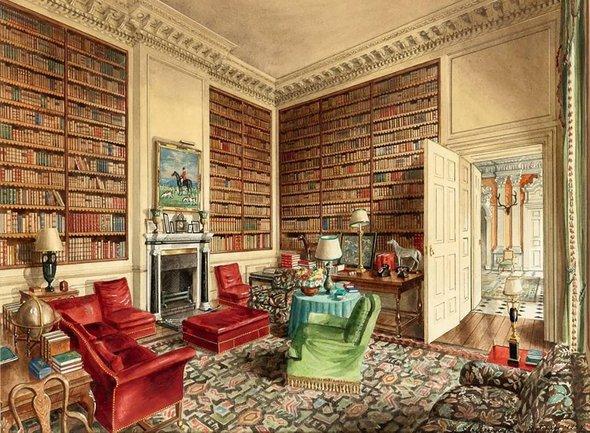 Александр Серебряков. Замок Дичли, графство Оксфордшир. Библиотека. 1948 год